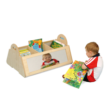 Natural Kinderbox bookcase storage with Mirrors  medium