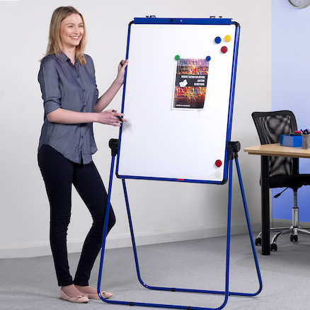 Height Adjustable Drywipe Flipchart Easel  large