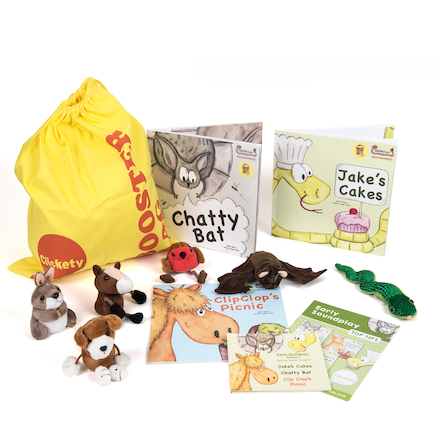 Clickety Speech Booster Book and Toy Sacks   large