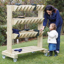 Outdoor Wooden Wellie Storage Trolley  medium