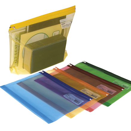 Snopake Coloured Zip Bags A4+  large