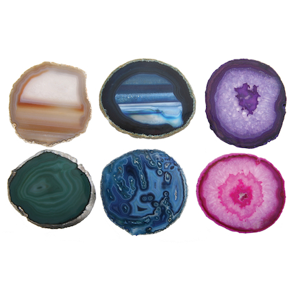 Colourful Natural Material Agates Set 6pcs  large