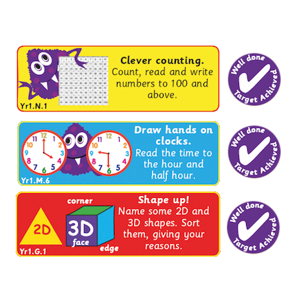 Maths Progress Target Stickers Buy all and Save  large