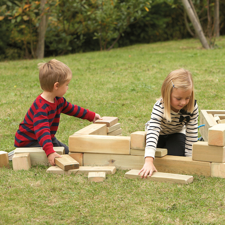 Outdoor Wooden Blocks and Cart 40pcs  large