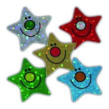 Sparkly Smiley Star Stickers 125pk  medium