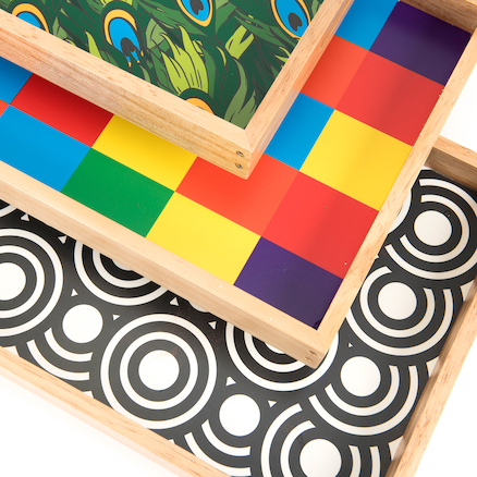 Wooden Sensory Mark Making Pattern Trays 3pk  large