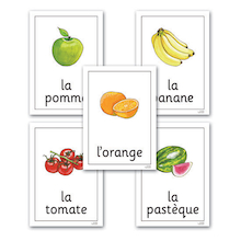 Fruit and Vegetables French Flashcards A4 22pk  medium