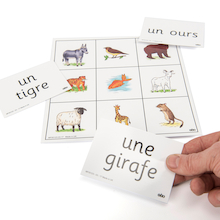 French Animals Vocabulary Bingo Game  medium