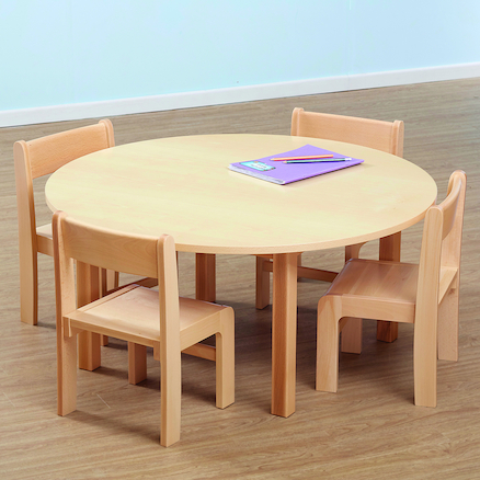 Beech Veneer Circular Table and Chairs Set  large