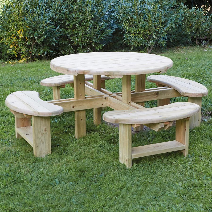 Buy Outdoor Round Wooden Picnic Bench Tts