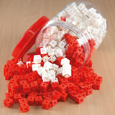 Red\/White Plastic Snap Cubes Pack 500pcs  large