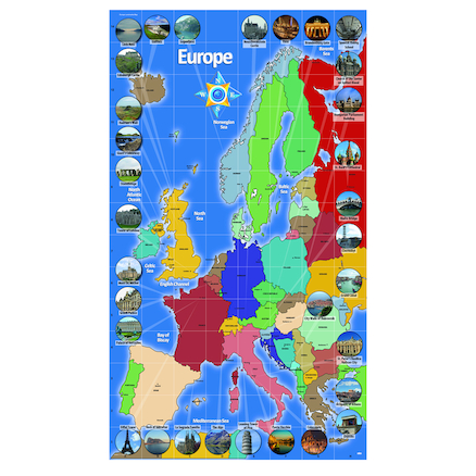 European Landmark Map Signboards  large
