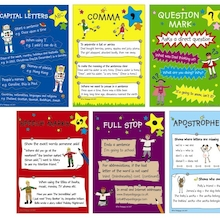 Laminated Punctuation Poster Set A4 6pk  medium
