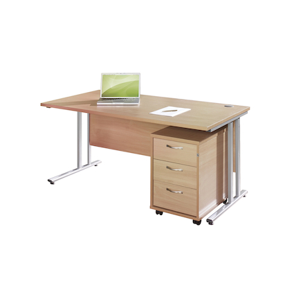 Rectangular 1400mm Desk and 3 High Pedestal Beech  large