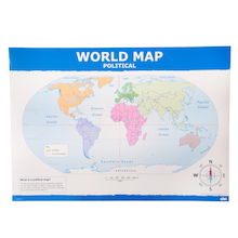 Simple World Map A1 Political and Relief  medium