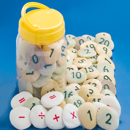Number Pebbles Engraved Number Stones Sums 50pcs  large