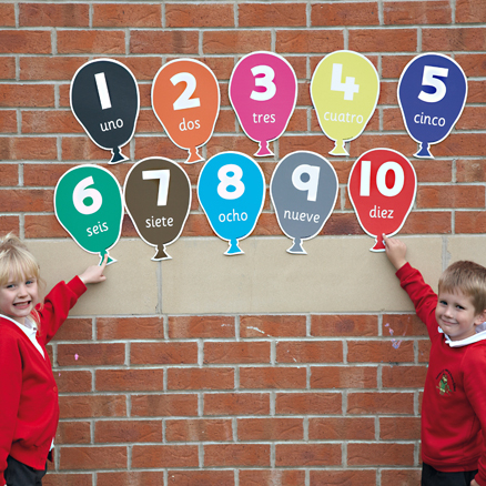 Numbers Spanish Playground Signs  large