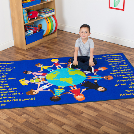 Multicultural Welcome Floor Mat L200 x W130cm  large