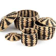 Woven Zebra Baskets 3pk  medium