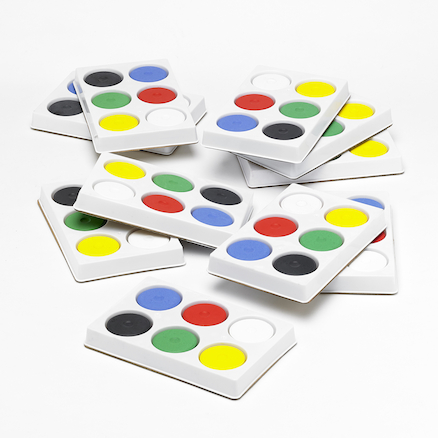 Assorted Tempera 6 Paint Blocks and Palette  large