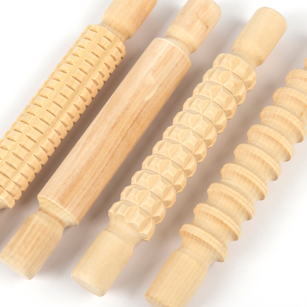 Textured Wooden Rolling Pin Set 4pk  large