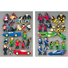 Wooden Superhero Character Figures 20pk  medium