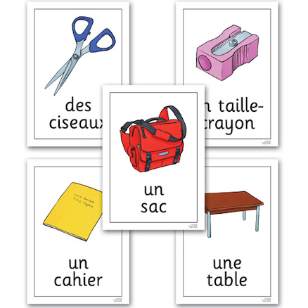 Classroom Objects French Vocabulary Flashcards A4  large