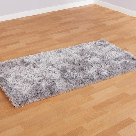 Silver Shimmer Textured Soft Rug 150 x 80cm  large
