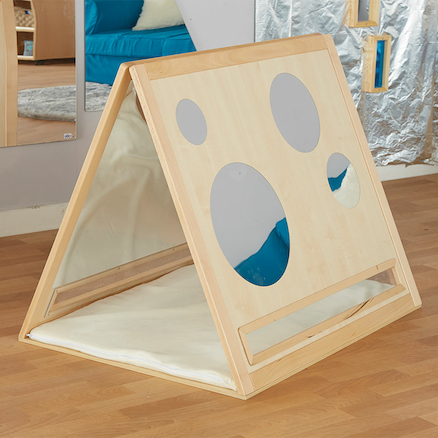 Toddler Curiosity Wooden Mirrored Triangle  large