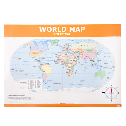 Simple World Map A1 Political and Relief  large