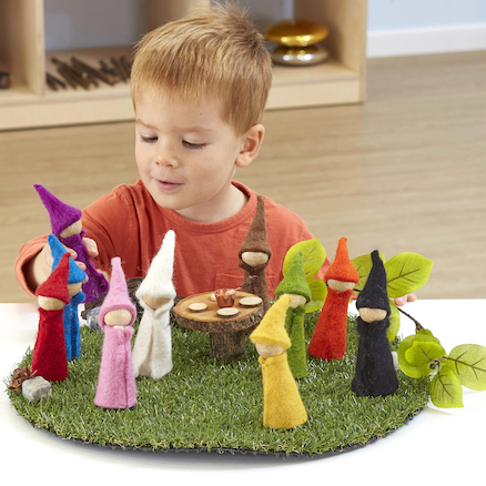 Small World Rainbow Felt Wooden Elves  large