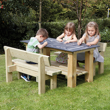 Outdoor Rectangular Chalkboard Table and Benches  medium