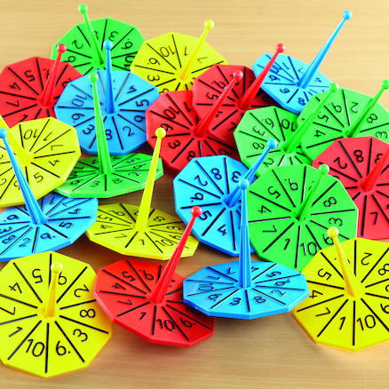 Plastic Number Spinners 1\-10  large