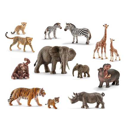 Schleich African Animals and Their Young Set 14pcs  large