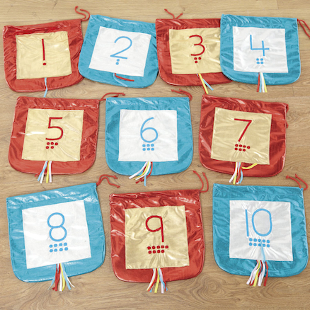 Metallic Fabric Number and Counting Bags 1\-10  large