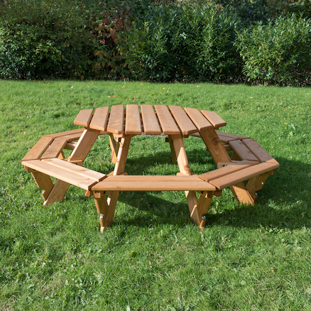 Outdoor Eight Seater Octagonal Picnic Bench  large