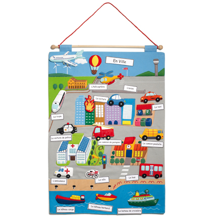 French Transport Vocabulary Wall Hanging  large