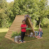 Outdoor Wooden Hideaway Play House and Platform  small