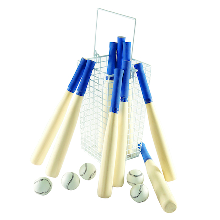 Rounders Kit 9 Bats, 5 Balls and 1 Basket  large