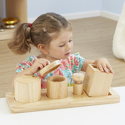 Wooden Discovery Boxes with Lids for Toddlers  large