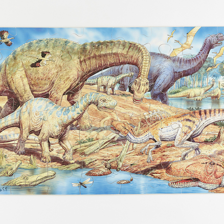 Farmyard and Dinosaur Floor Jigsaw Puzzle  large