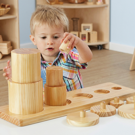 Wooden Toddler Sorting Pots  large