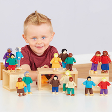 Wooden Small World Diversity Multicultural Family  medium