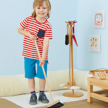 Role Play Wooden Cleaning Set with Stand  medium