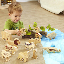 Wooden Wild Animals 12pk  medium