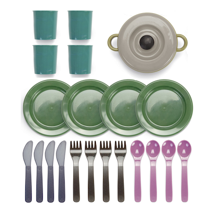 Green Bean Recycled Role Play Dinner Set 22pk  large