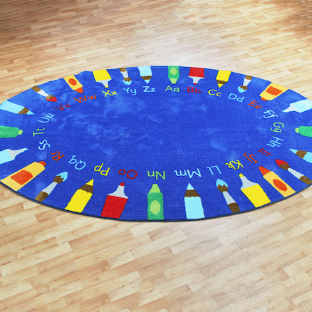 Pencils Alphabet Floor Mat Oval  large