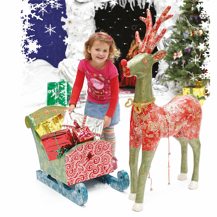Giant Papier Mache Santas Reindeer and Sleigh  large