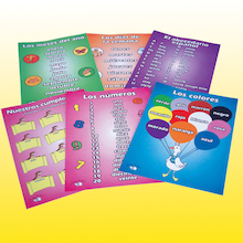 Spanish Vocabulary Beginners A3 Posters 6pk  medium