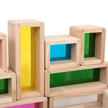 Rainbow Wooden Building Bricks 36pcs  large